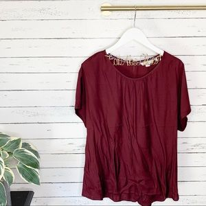 Boden Ravenna Burgundy Silk Blend Top